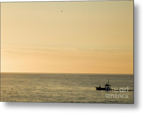 A Small Fishing Boat In Sunset Over Cardigan Bay Aberystwyth Ceredigion West Wales Metal Print