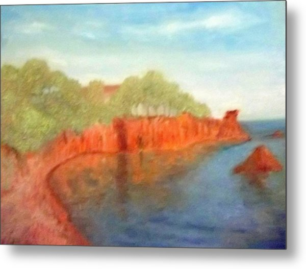 A Small Inlet Bay With Red Orange Rocks Metal Print