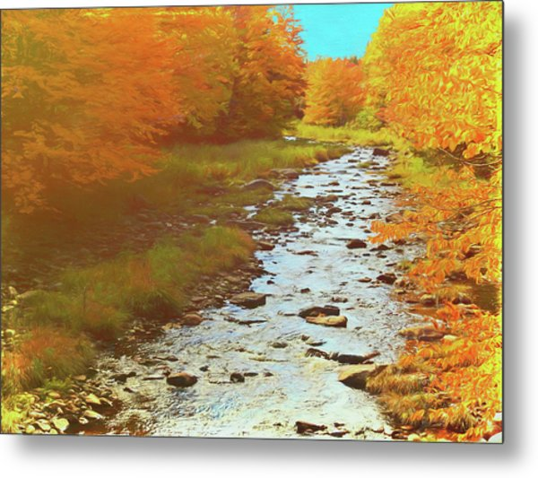 A Small Stream Bright Fall Color. Metal Print