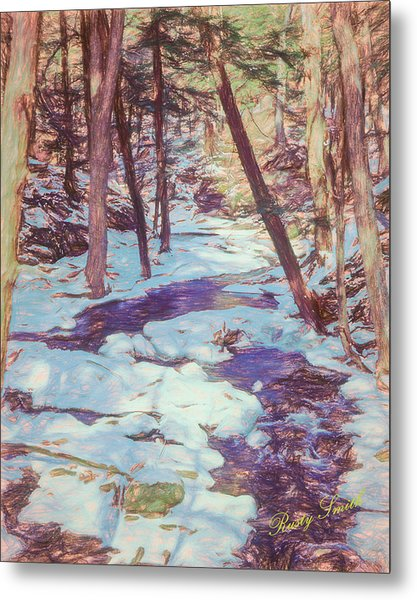 A Small Stream Meandering Through Winter Landscape. Metal Print