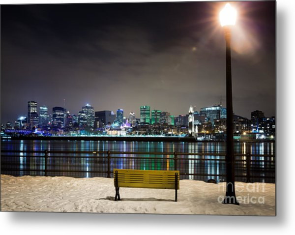 A Snowy Night In Montreal  Metal Print