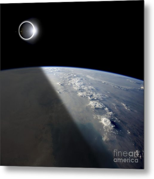 A Solar Eclipses Partially Shades Metal Print