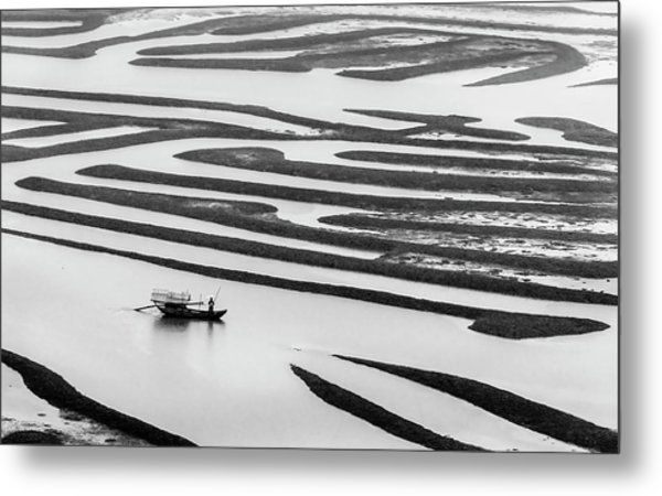 A Solitary Boatman. Metal Print
