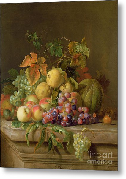 A Still Life Of Melons Grapes And Peaches On A Ledge Metal Print