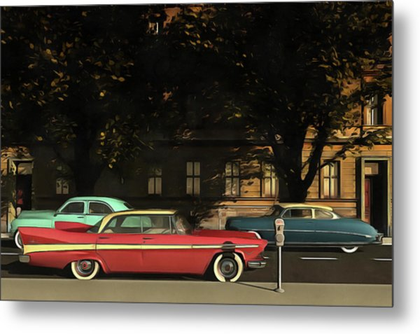 A Street With Oldtimers Metal Print