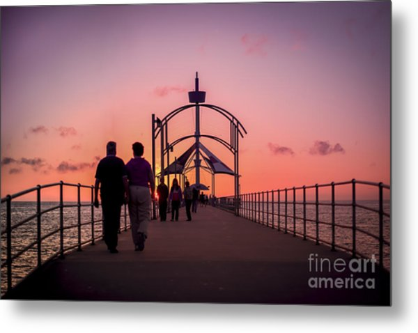 A Stroll Along Sunset Pier Metal Print