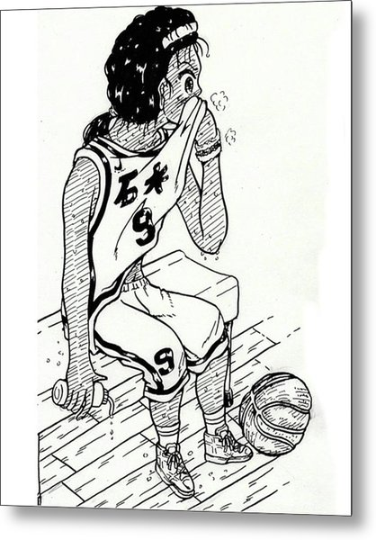 A Student Studying Abroad For Basketball Metal Print