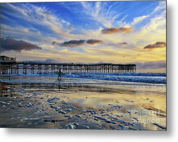 A Surfer Heads Home Under A Cloudy Sunset At Crystal Pier Metal Print