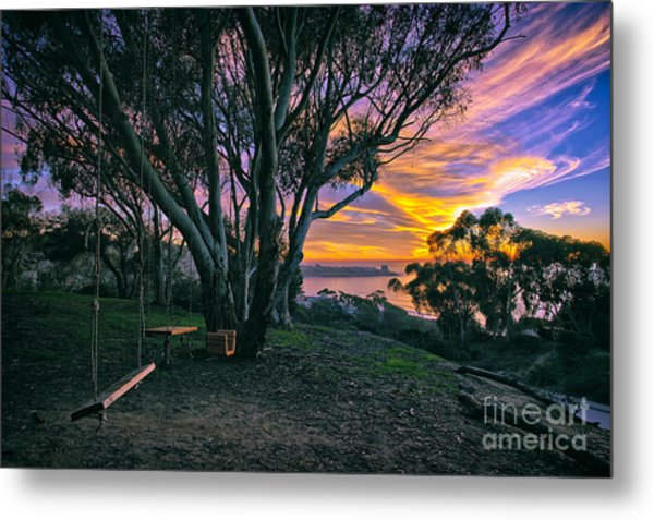 A Swinging Sunset From The Secret Swings Of La Jolla Metal Print