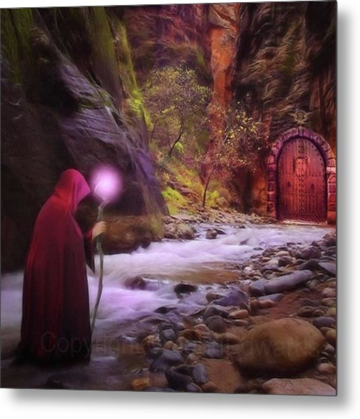 A Touch Of Fantasy - The Road Less Metal Print