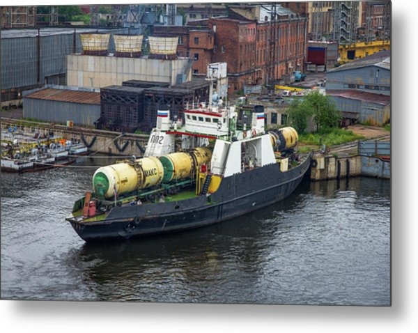 Metal Print featuring the photograph A Train Ferry In St Petersburg Carrying Freight by Clare Bambers