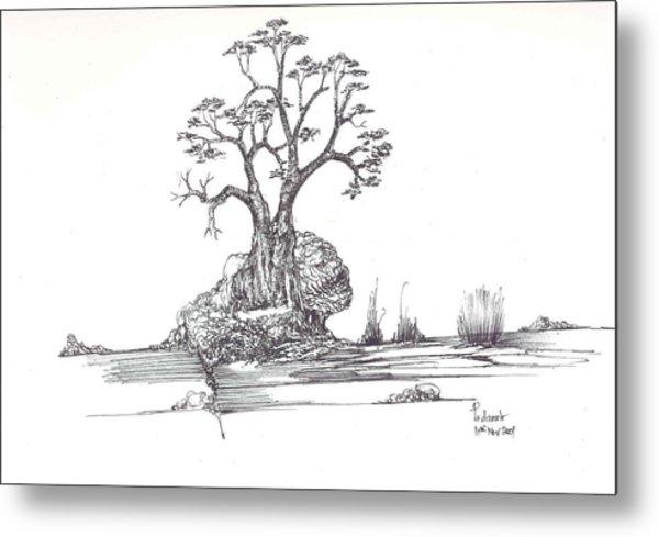 A Tree A Rock And Some Grass Metal Print by Padamvir Singh
