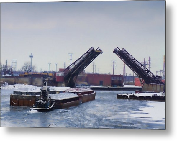 A Tug Boat Pushing A Barge Out To The Lake Metal Print