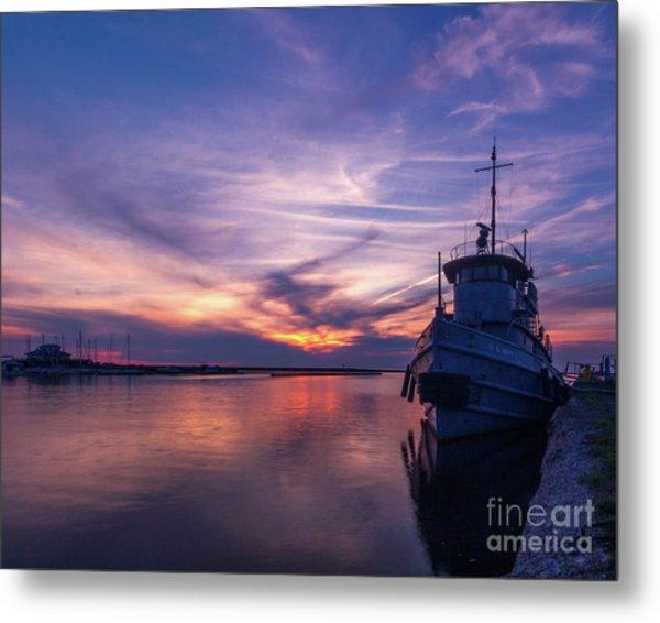 A Tugboat Sunset Metal Print