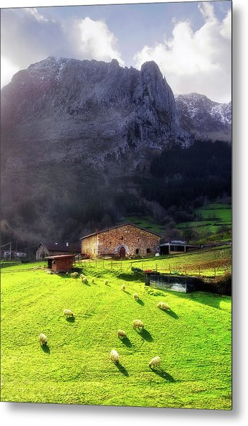 A Typical Basque Country Farmhouse With Sheep Metal Print