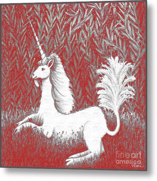 A Unicorn In Moonlight Tapestry Metal Print