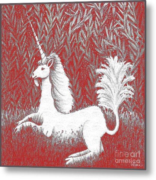 A Unicorn In Moonlight Tapestry Metal Print