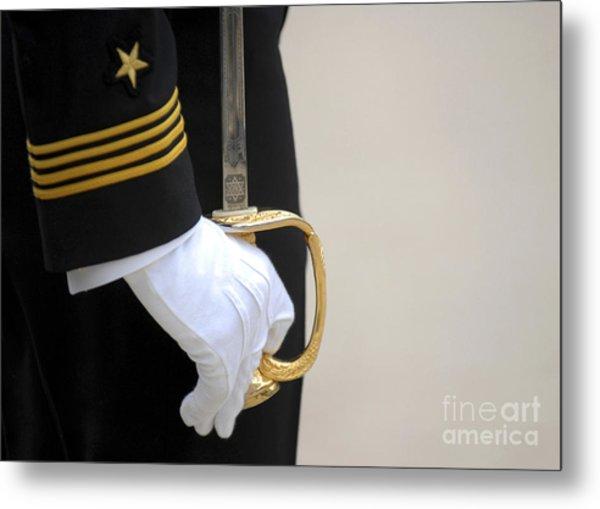 A U.s. Naval Academy Midshipman Stands Metal Print