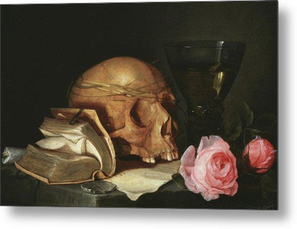 A Vanitas Still Life With A Skull, A Book And Roses Metal Print