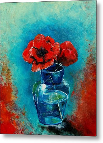 A Vase With Poppies  Metal Print by Veronique Radelet