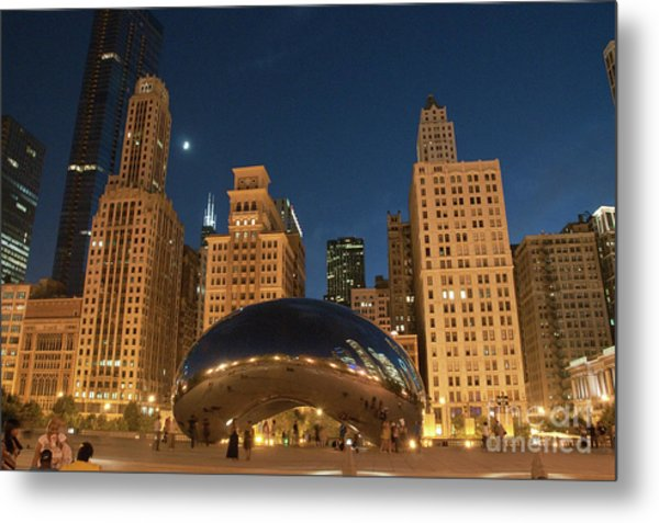 A View From Millenium Park At Night Metal Print