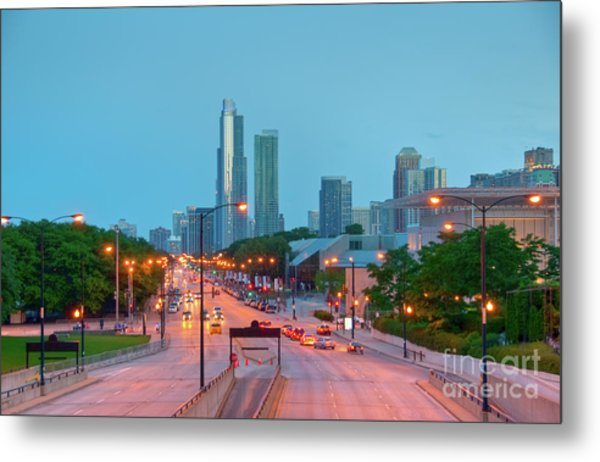 A View Of Columbus Drive In Chicago Metal Print