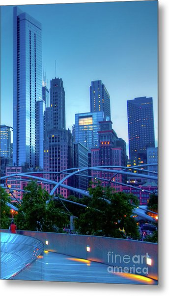 A View Of Millenium Park From The Amoco Bridge In Chicago At Dus Metal Print