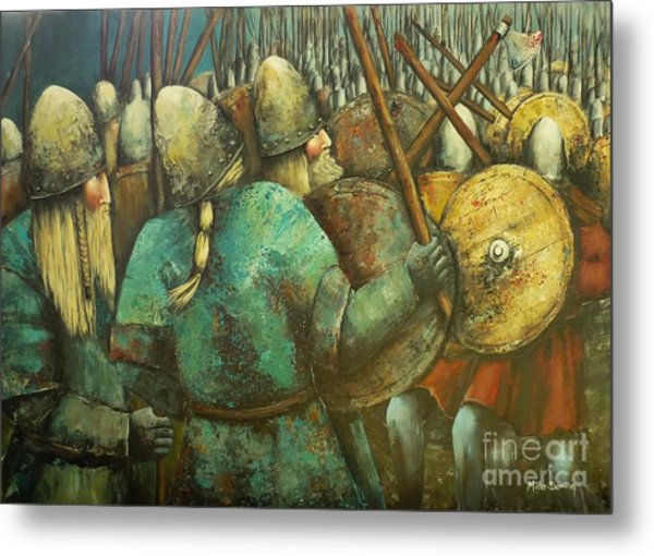 A Viking Skirmish Metal Print