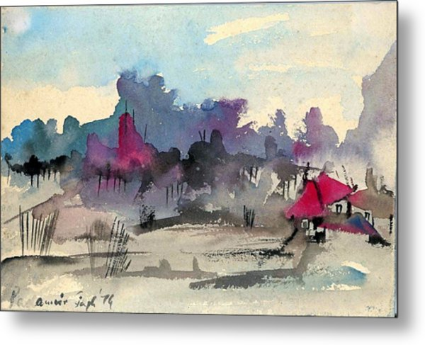 A Village Among The Hills Metal Print