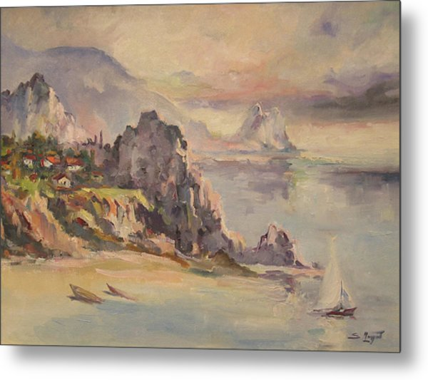 A Village Behind The Cliff Metal Print
