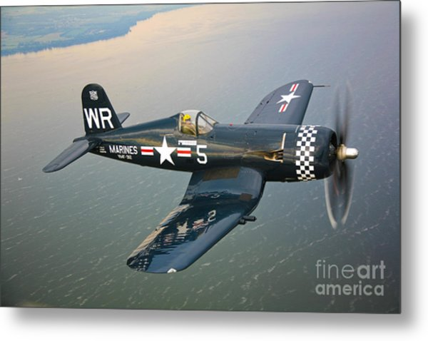 A Vought F4u-5 Corsair In Flight Metal Print