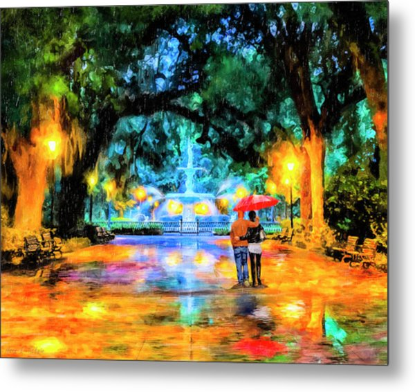 A Walk In Forsyth Park - Savannah Metal Print