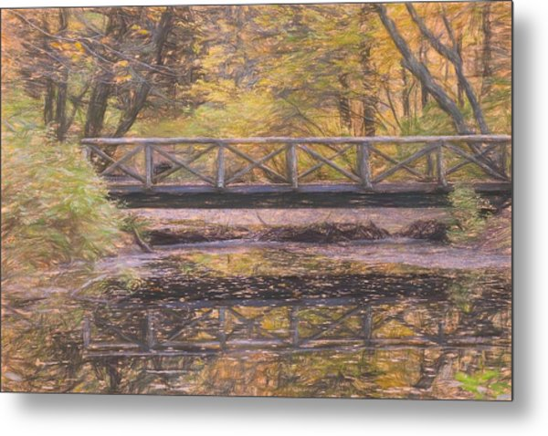 A Walking Bridge Reflection On Peaceful Flowing Water. Metal Print