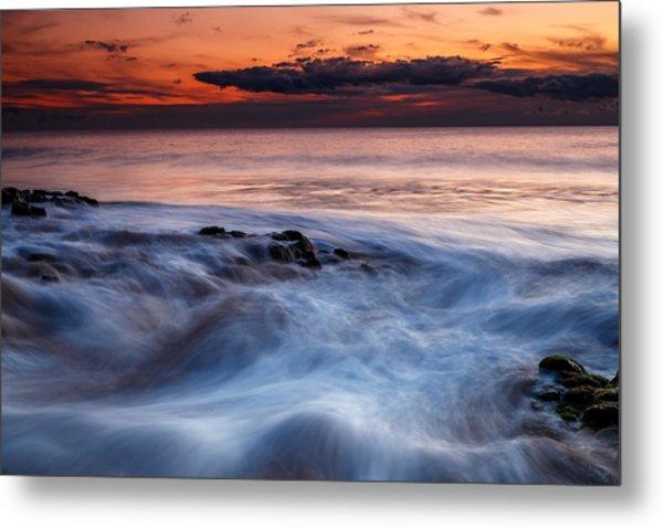 A Wave At Sunset Metal Print
