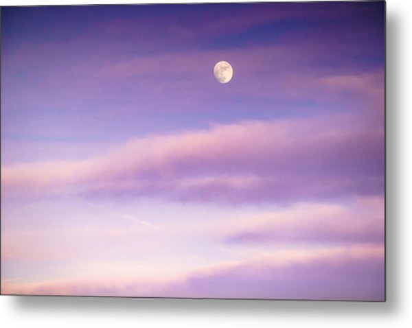 A White Moon In Twilight Metal Print
