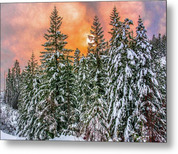 A Winters Sky Set Ablaze Metal Print