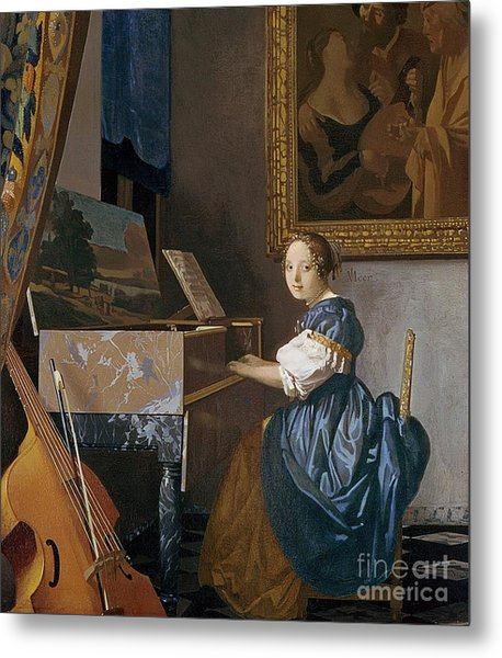 A Young Lady Seated At A Virginal Metal Print