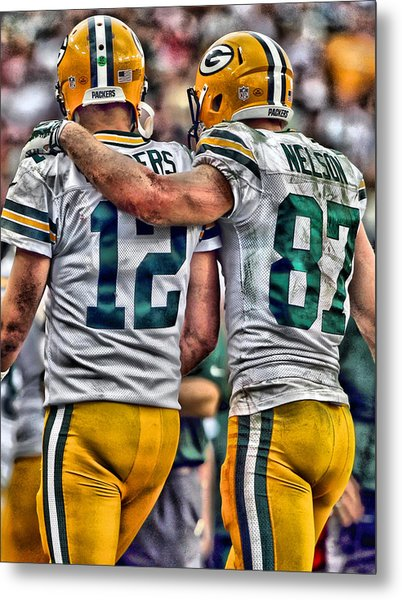 Aaron Rodgers Jordy Nelson Green Bay Packers Art Metal Print