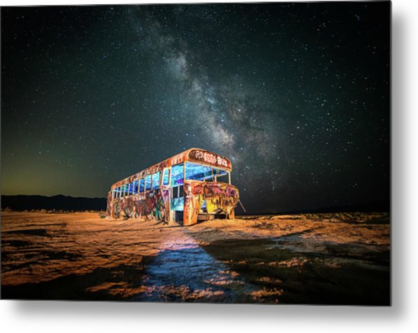 Abandoned Bus Under The Milky Way Metal Print