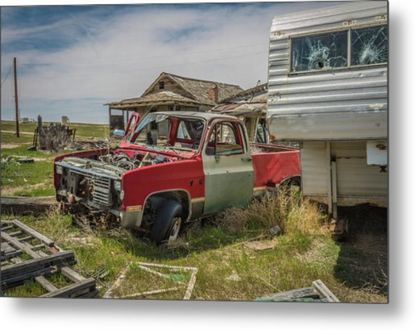 Abandoned Car And Trailer In The Ghost Town Of Cisco, Utah Metal Print