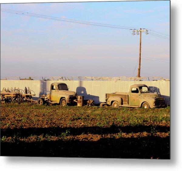 Abandoned Farm Trucks Tracy Ca Metal Print by Troy Montemayor