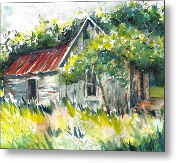 Abandoned Farmhouse In The Ozark Mountains On The Gravel Road To Hawk's Bill Crag At Whitaker Point Metal Print