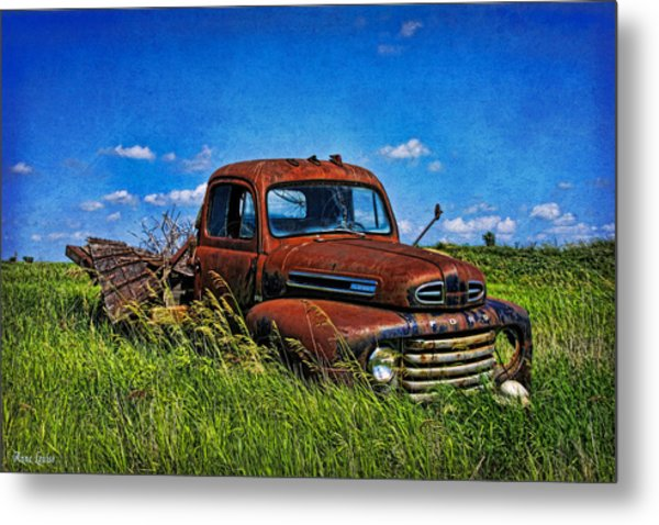 Abandoned Ford Truck In The Prairie Metal Print