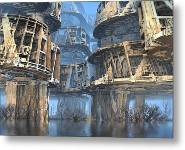 Abandoned Swamp Village Metal Print