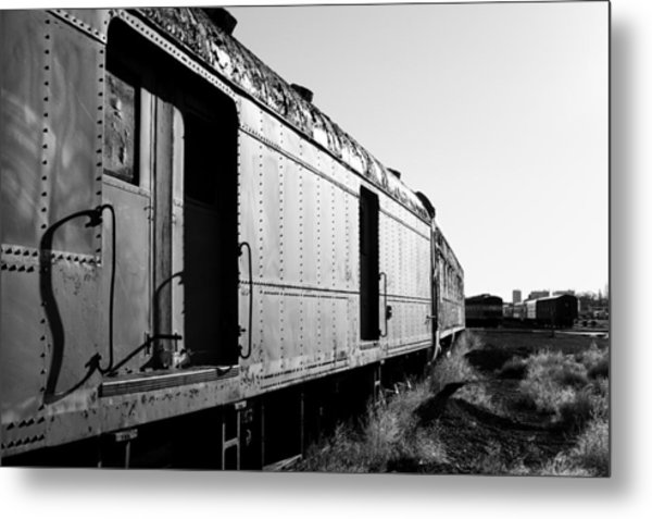 Abandoned Train Cars Metal Print