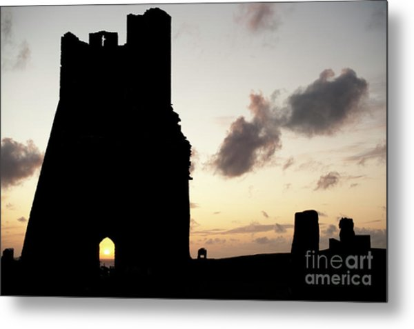 Aberystwyth Castle Tower Ruins At Sunset, Wales Uk Metal Print