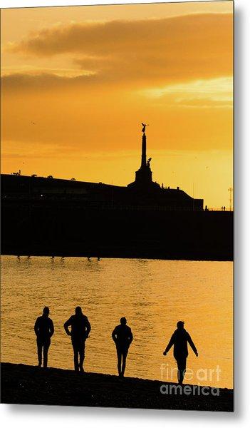 Aberystwyth Sunset Silhouettes Metal Print