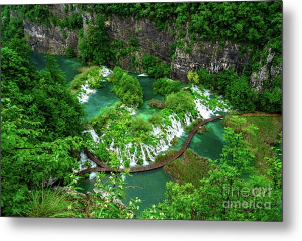 Above The Paths And Waterfalls At Plitvice Lakes National Park, Croatia Metal Print