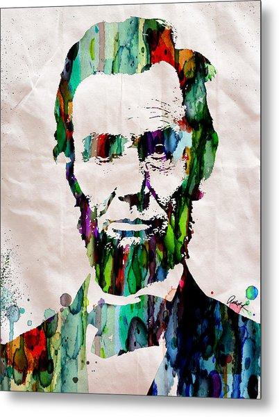Abraham Lincoln Art Watercolor Metal Print
