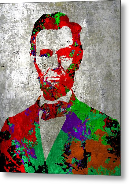 Abraham Lincoln On Silver - Amazing President Metal Print